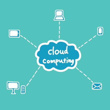 cloud computing system, doodle style Vector