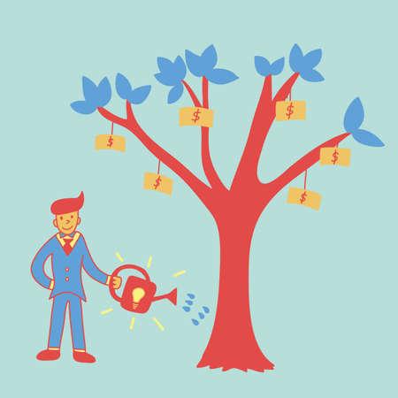 make money: make money with ideas, business concept Illustration