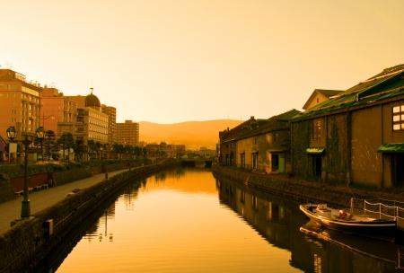 hokkaido: golden hour at historic Otaru canals, Hokkaido, Japan