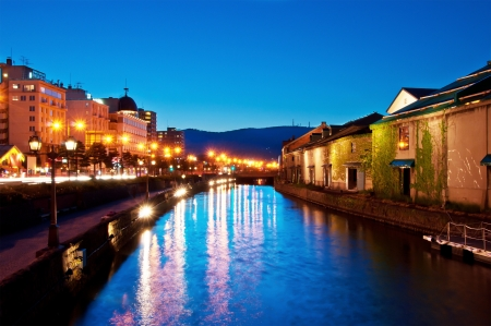 canals: twilight at historic Otaru canals, Hokkaido, Japan Stock Photo
