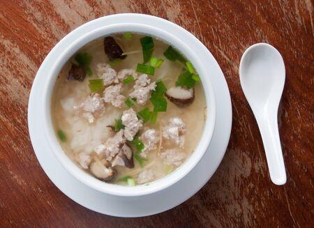 rice porridge with pork, thai breakfast photo