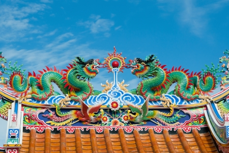 colorful chinese dragons on chinese temple roof photo