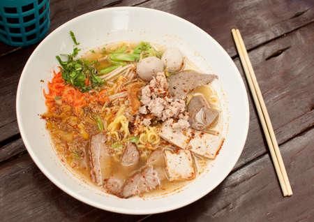entrails: pork noodles soup, thai style food