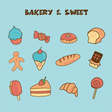 bakery and sweet icon, doodle hand drawing style Vector