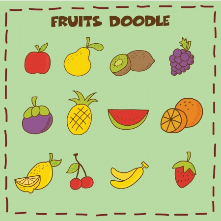 fruits doodle icon set, hand drawing style Vector