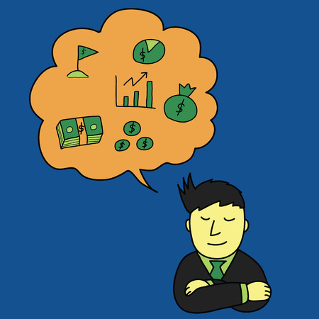 think about money concept, hand drawing style Vector