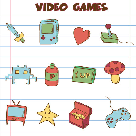 video games icon doodle, hand drawing style Vector