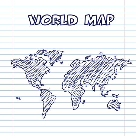 Carte du monde encre de stylo griffonnage, main tiré de style Banque d'images - 22957366