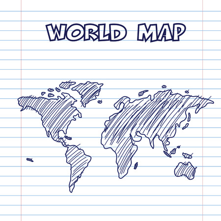 world map doodle pen ink, hand drawn style Vector