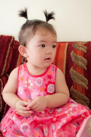 asian baby girl: portrait of asian baby girl Stock Photo