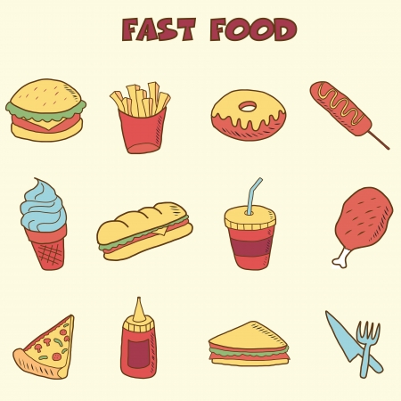 fast food doodle icons, vector hand drawing style