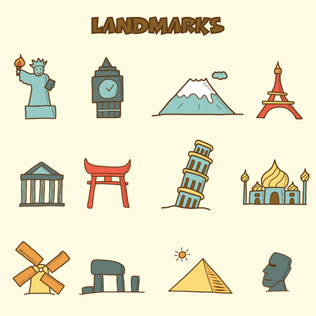 landmarks doodle icons, vector hand drawing style