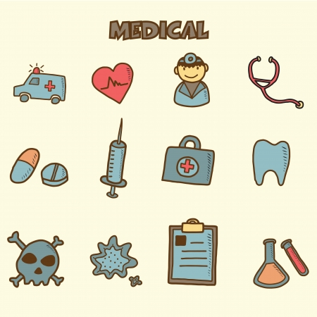 hospital notes: medical doodles icon, vector hand drawing style