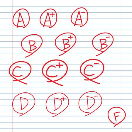 Calificaciones en la escuela gobernaron hoja de papel, garabato iconos mano de estilo dibujo Foto de archivo - 22958940