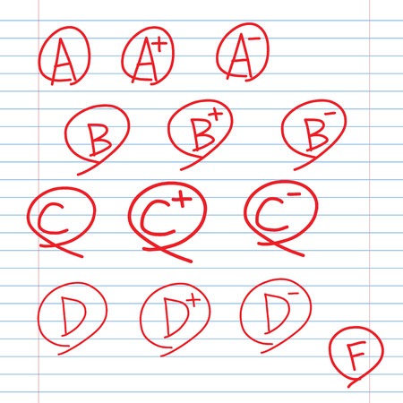 grades on school ruled sheet paper, doodle icons hand drawing style Иллюстрация