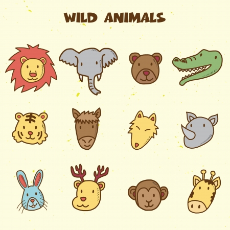 wild animals doodle icons, vector hand drawing style Vector