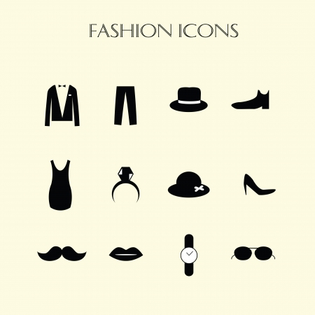 fashion icons set, back and white vector symbols Vector