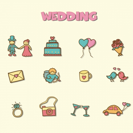 wedding doodle icons, vector hand drawing style Vector