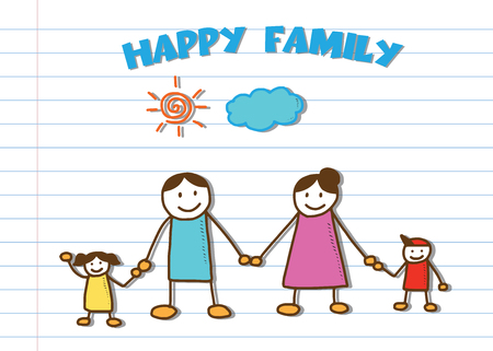 ruled: happy family vector doodle on school ruled sheet paper Illustration