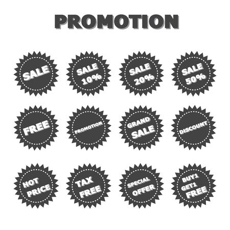 grand sale button: promotion labels, black and white vector icons for marketing Illustration