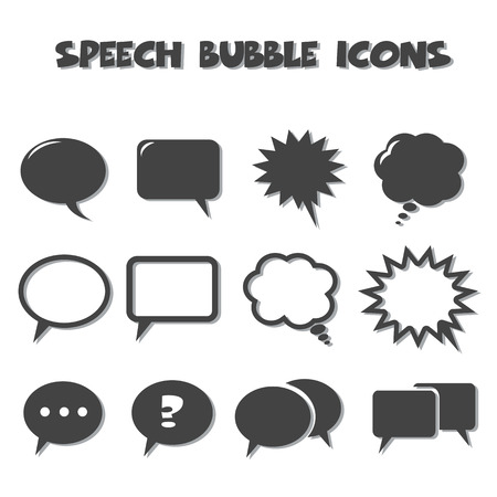speech bubble icons, back and white vector isolated on white background Vector