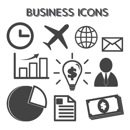 business icons, mono vector symbols Vector