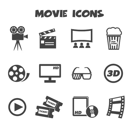 cinema strip: movie icons, mono vector symbols