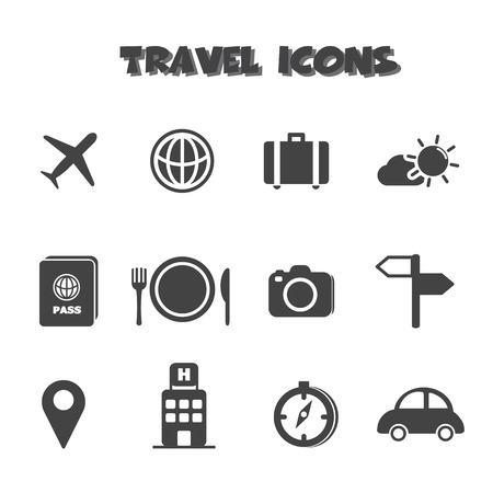 travel icons, mono vector symbols Vector