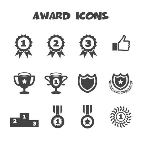 winning first: award icons, mono vector symbols