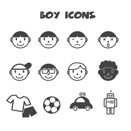 boy icons, mono vector symbols Vector