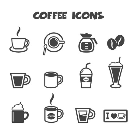 white beans: coffee icons, mono vector symbols