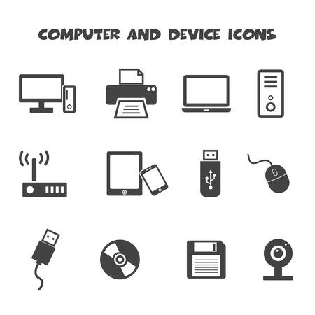 ícones de computador e dispositivo, símbolos mono vetor Ilustración de vector