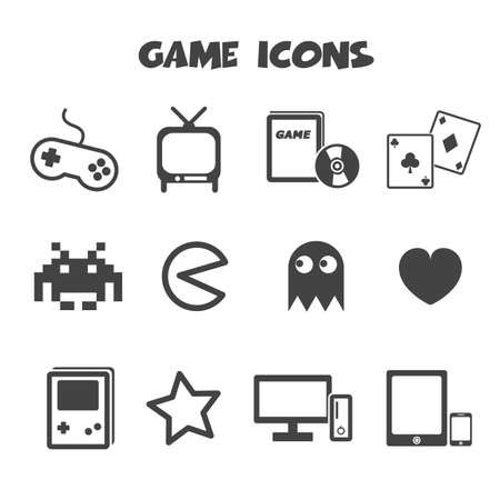 handheld device: game icons, mono vector symbols