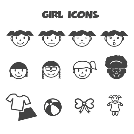 girl icons, mono vector symbols Stock Vector - 24941838