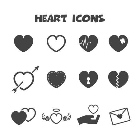 heart icons, mono vector symbols
