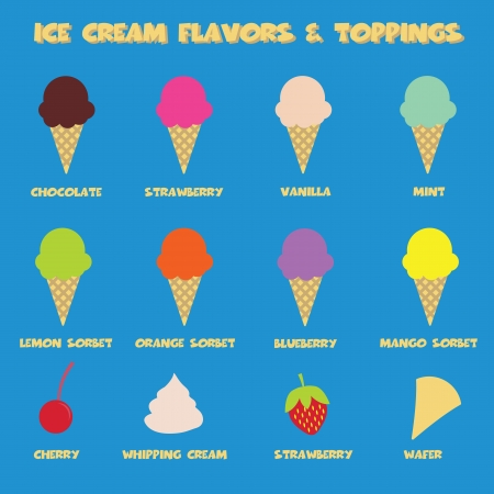 topping: ice cream flavors and topping, colorful vector symbols