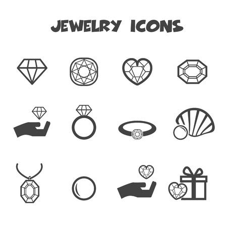 jewelry icons, mono vector symbols