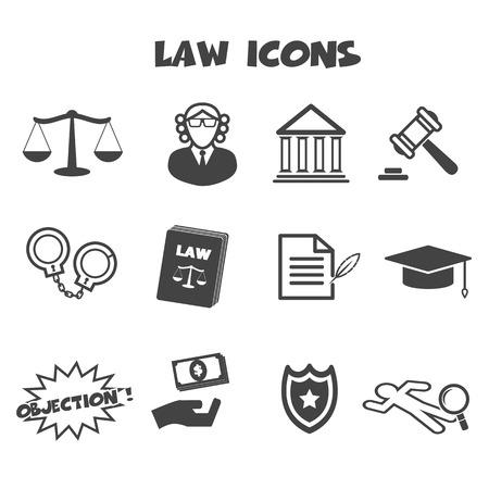 criminal law: law icons, mono vector symbols Illustration