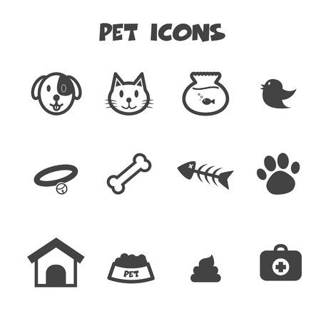 ícones de animais de estimação, símbolos vetoriais mono