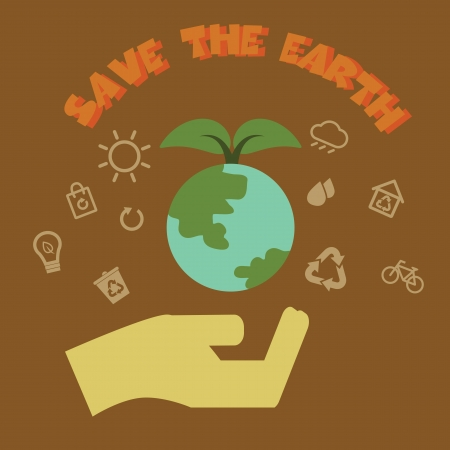 save the earth, ecology concept vector design Vector
