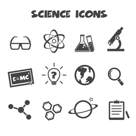 einstein: science icons, mono vector symbols