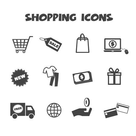 winkelen pictogrammen, mono vectorsymbolen Stock Illustratie