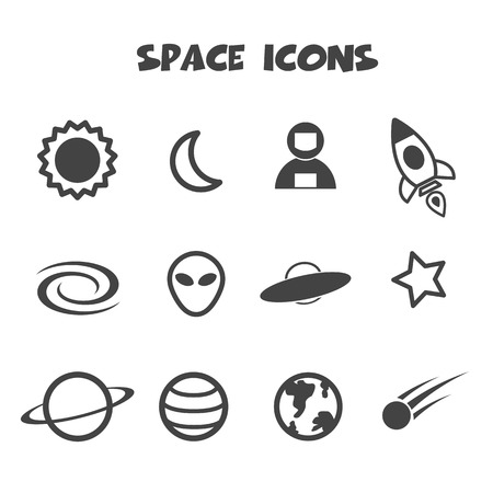 space icon, mono vector symbols Stock Vector - 24941850