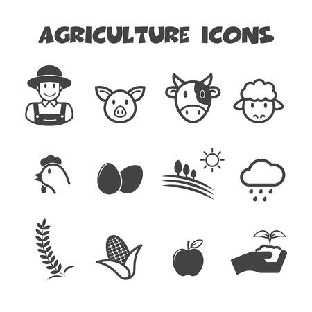 agriculture icons, mono vector symbols Vector