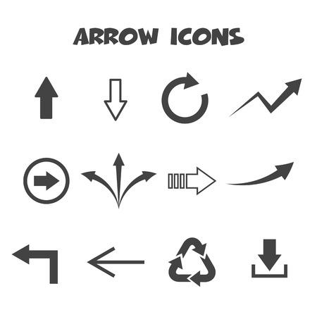 arrow icons, mono vector symbols