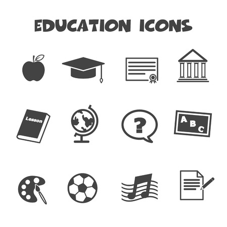 education icons, mono vector symbols Vector
