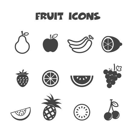 black pictogram: fruit icons, mono vector symbols
