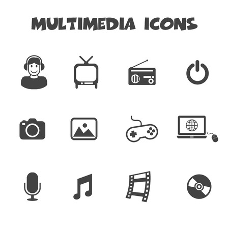 multimedia icons, mono vector symbols Vector