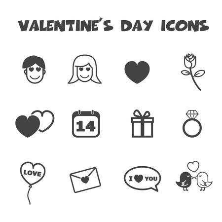 valentine icons, mono vector symbols Vector