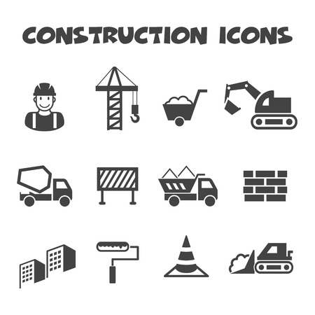 under construction sign with man: construction icons, mono vector symbols
